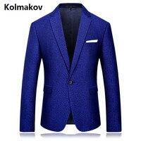 Kolmakov Новинка 2017 Мужская одной кнопки повседневные шерстяные пиджаки, печатных куртка мужчины, синий камень свадебное платье фланель пиджак