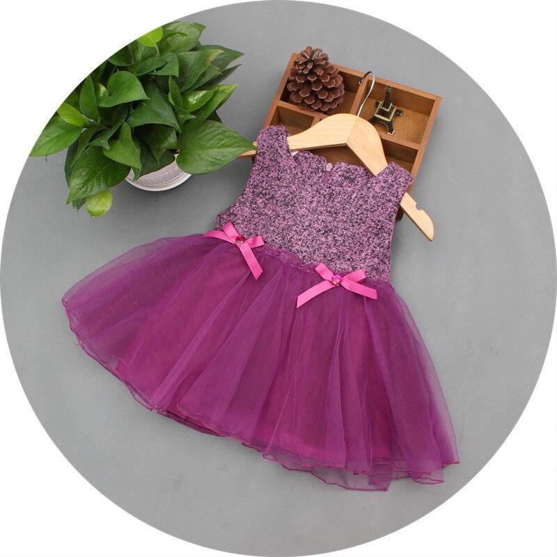 Autumn Baby Girl Dress Toddler Girl Vest Dress Purple Bow Woolen Princess Dress 1 - 4 Year Birthday Party Ball Gown Tulle Dress 2016 girl autumn dress 100