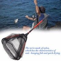 NEW Portable Triangular Brail Folding Fishing Net Landing Net With Aluminium Alloy Pole Handle Fishing Tackle