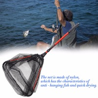 NEW Portable Triangular Brail Folding Fishing Net Landing Net With Aluminium Alloy Pole Handle Fishing Tackle