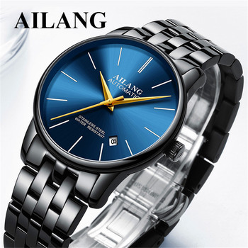 Ultra-thin Black blue dial Watch Men 30M Waterproof Automatic Mechanical Mens Watches Luxury Relogio Masculino Steel Watches