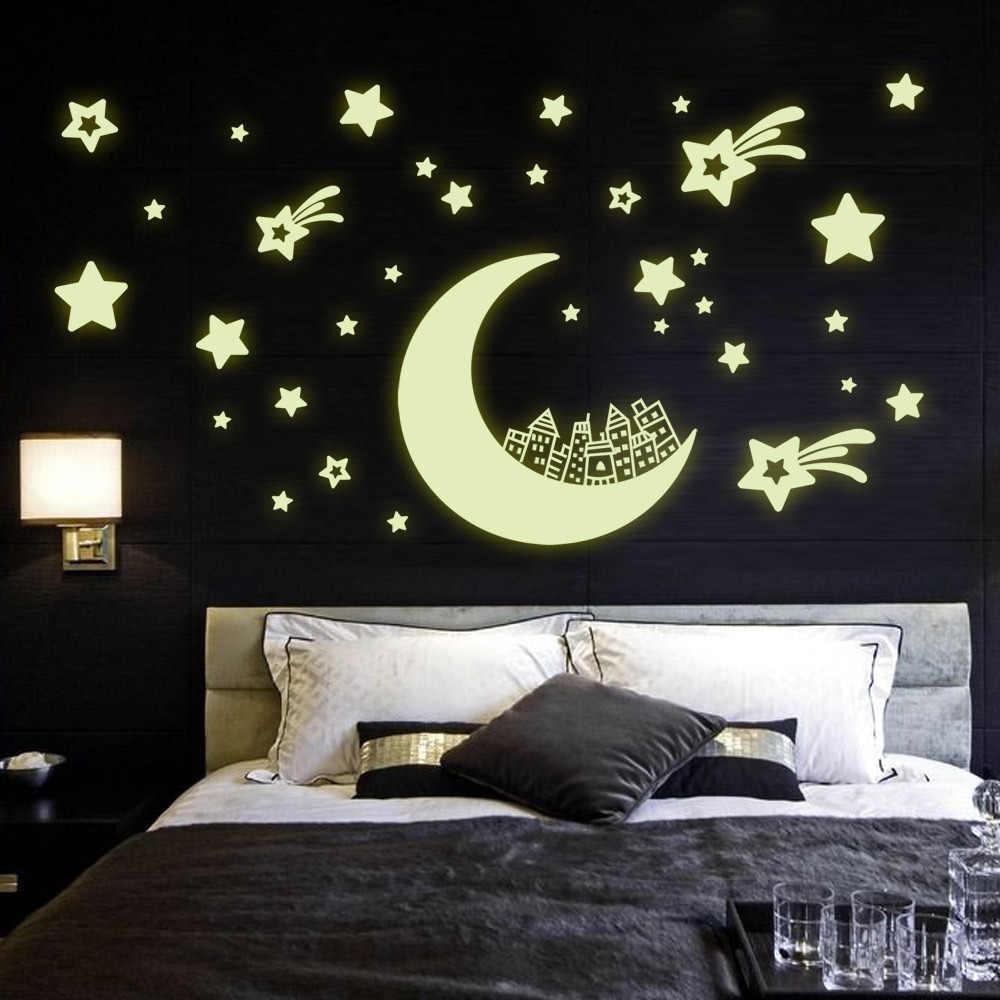 100 шт./компл., которая светится ночью звезда наклейки с Луной Пластик светильник вверх светится в темноте игрушки настенный светильник для маленьких детей Спальня спальный подарок