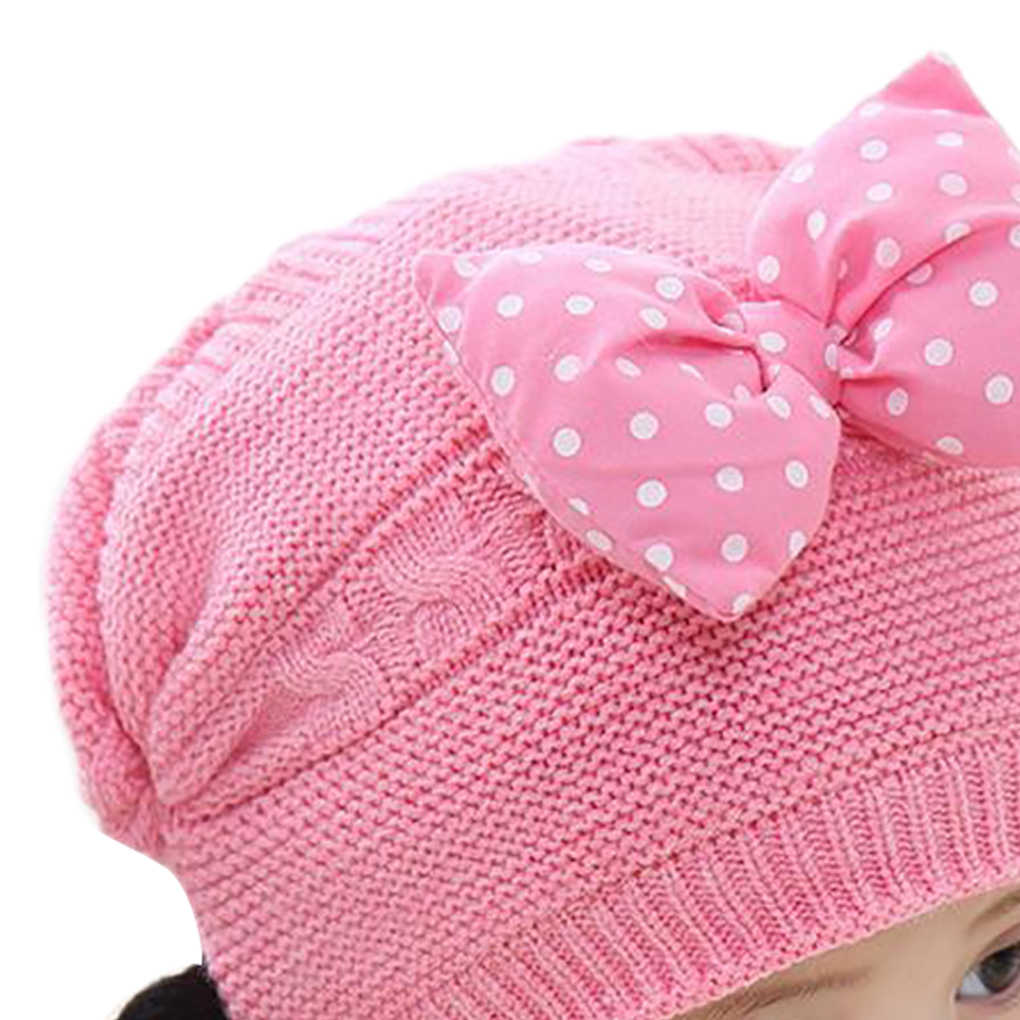 0815ca86b23 ... 2019 New Children Kids Baby Beanie Bowtie Braid Design Knitted Ear  Covering Cap Winter Thick Baby ...