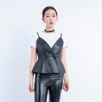 2019 new Sexy genuine sheepskin leather vest women coat V neck A line slim Party Club elegant jacket sleeveless Feminino