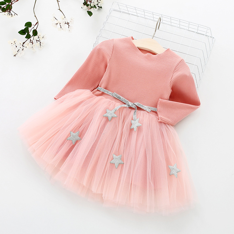 HTB1ZXccaE rK1Rjy0Fcq6zEvVXa1 Kids Long Sleeve Lace Drsses for Girls Party Dress Star Printed Birthday Tutu Dresses Children Casual Wear 3 6 8 Years Vestidos