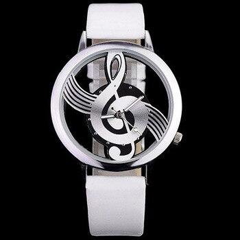 Nuevo par de relojes a la moda, pulsera de nota musical, reloj para mujer, carcasa plateada, relojes de pulsera de cuarzo, correa de cuero, reloj para hombre, regalo