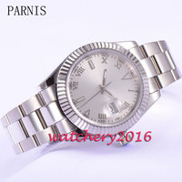 Parnis New 40mm self-winding  dial coin bezel date window sapphire glass automatic movement Men's Watch