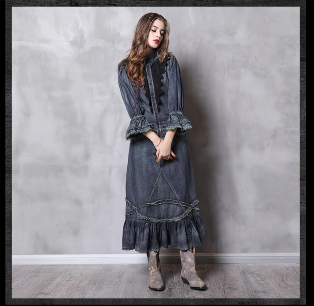 Vintage Autumn Dress Women With Pockets 2018 New Denim Dresses Stand Collar Long Elegant Lace Patchwork Vestidos Femininos (12)