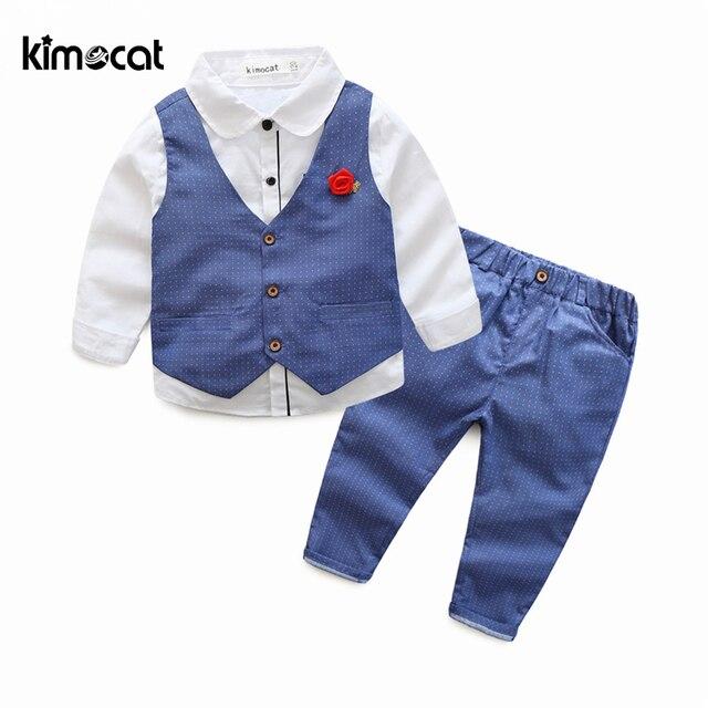 Kimocat Spring and Autumn New Fashion 3pcs Waistcoat+Shirt+Pants Boy Kids Children's Set Long Sleeve Vest Gentleman Boys Clothes
