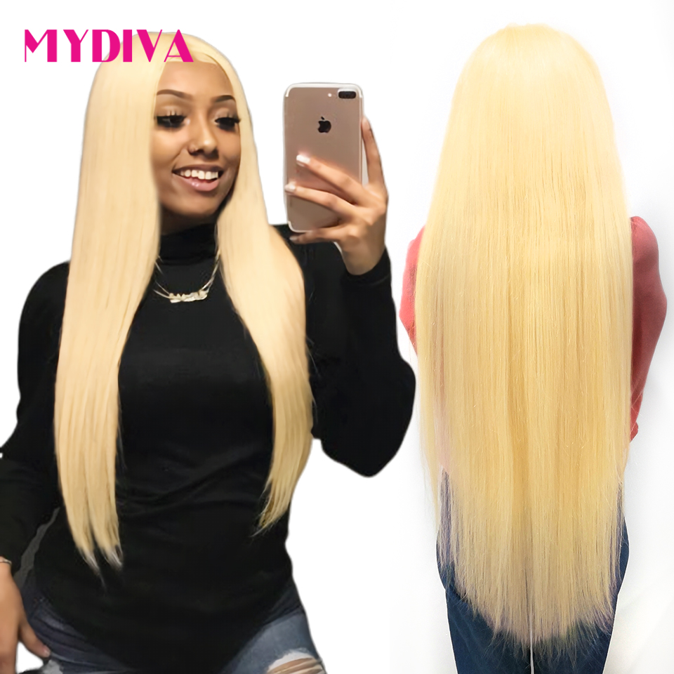 613 Honey Blonde Lace Frontal Wig Pre Plucked With Baby Hair Transparent 613 Glueless Lace Frontal Wig For Black Women Remy Hair image