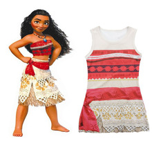 2017 New Summer Movie Moana Princess Dress Girl Baby Skirt Christmas Halloween Party Cosplay Costume Kids Clothes Hot Sale