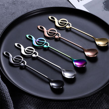 6 Color Stainless Steel Tea Spoons Small Coffee Creative Music Symbol For Ice Cream Dessert Party Tableware
