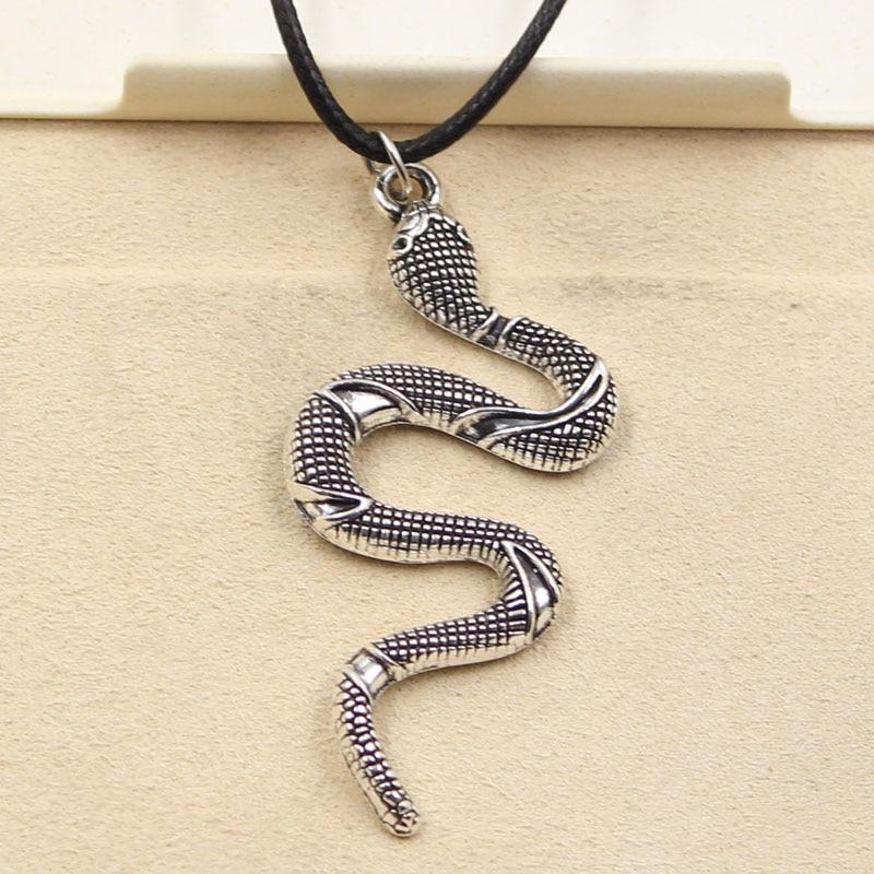 Νέα μόδα Θιβέτ ασημένια κρεμαστό κόσμημα φίδι κολιέ γοητεία μαργαριτάρι μαύρο δερμάτινο κορδόνι εργοστάσιο Τιμή χειροποίητο κόσμημα