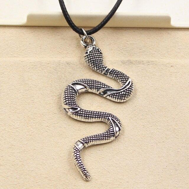 New Fashion Tibetan Silver Pendant snake Necklace Choker Charm Black Leather Cord Factory Price Handmade jewelry