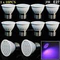 10pcs/lot E27 3W 20Red:16Blue 36 SMD Grow Light Lamp For Flowering Plant And Hydroponics System Free Shipping