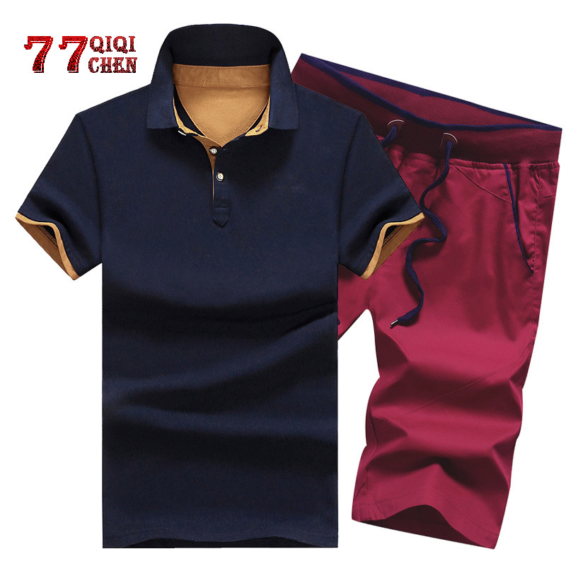 Mens Sets Cotton Summer Button Polo Shirts+Shorts Suits Plus Size 4XL Men Clothes 2 Piece Set Tracksuit Elastic Waist Shorts