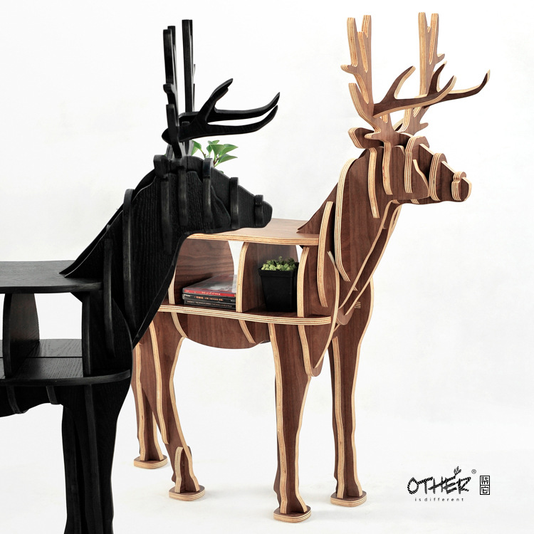 FREE SHIPPING deer table European DIY Arts Crafts Home Decoration deer wood craft gift desk self-build puzzle furniture factory wholesale european style rhino wood coffee table desk craft gift desk self build puzzle furniture free shipping
