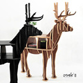 FREE SHIPPING deer table European DIY Arts Crafts Home Decoration deer wood craft gift desk self-build puzzle furniture