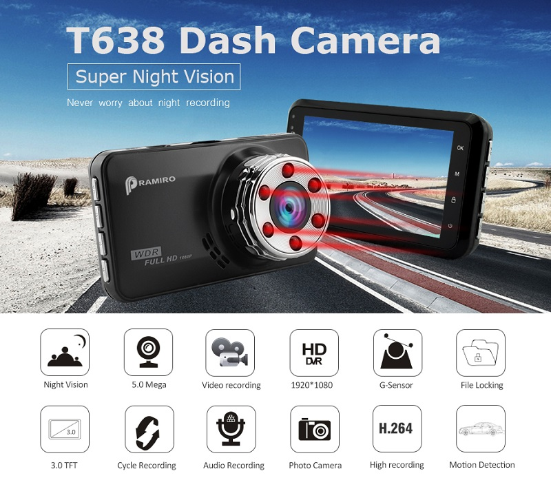 T638 Car DVR Full HD 1080p 3.0 Inch Car Dash Camera 6pcs IR Light Night Vision 170 Degree Vision Dash Cam video recording