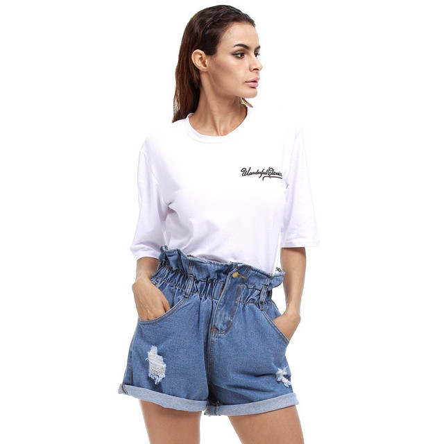 Curl Ripped Denim Shorts Women Hole Paper Bag High Waist