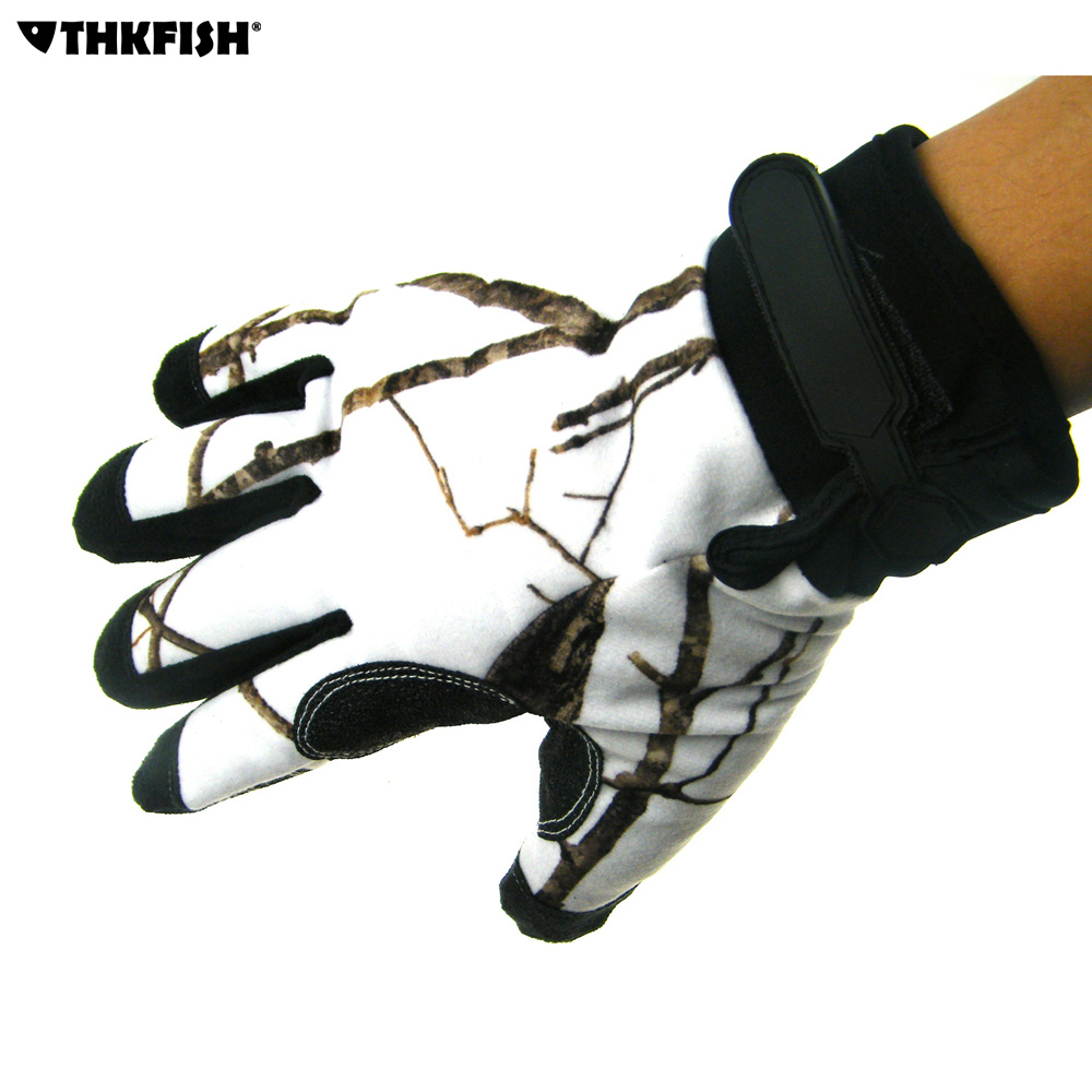 THKFISH Fishing Gloves Camo Camouflage Woodland Pattern Outdoor Winter Windproof <font><b>Cycling</b></font> Bike Hunting Fishing Gloves For Men