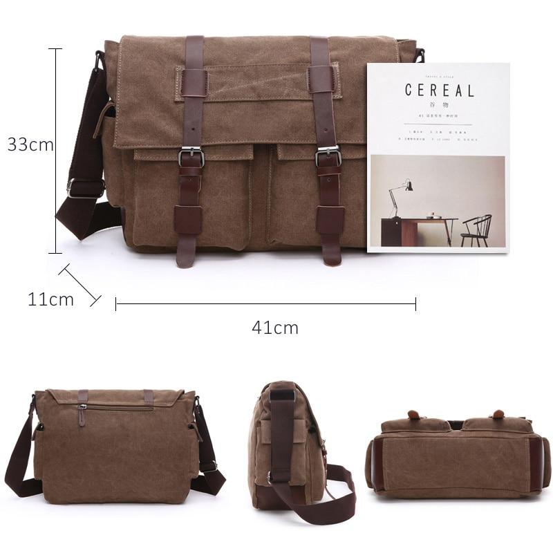 Scione Men Business Messenger Bags For Men Shoulder Bag Canvas Crossbody Pack Retro Casual Office Travel Bag