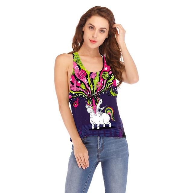 f601993b832e9 Pink White Tank Top Kawaii Cute Rainbow Unicorn Women Harajuku Sexy Tops  Punk Back Vest 2018 Summer Sleeveless Camisole Crochet