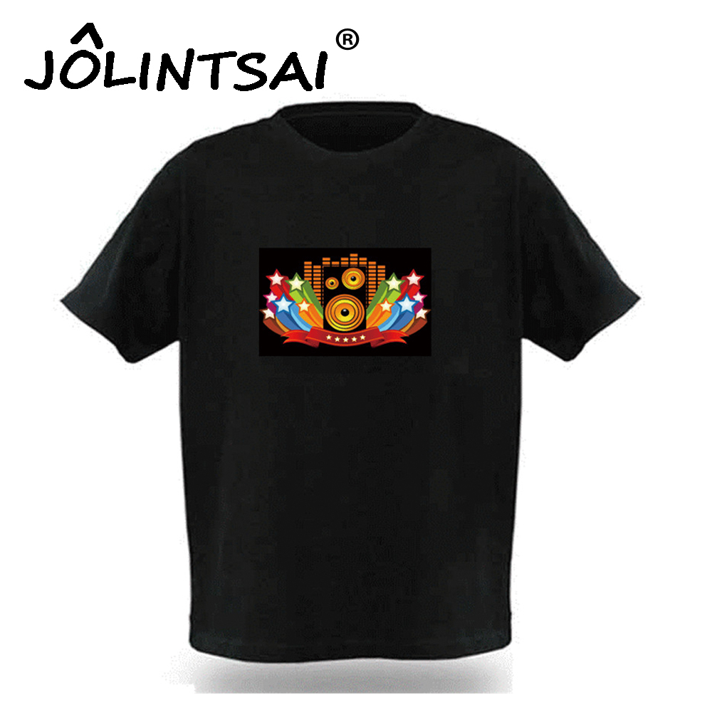 2017 Brand New Sound Activated LED T Shirt Men Women Light Up and Down Flashing Fashion T-Shirt For Rock Disco Party DJ Tshirt