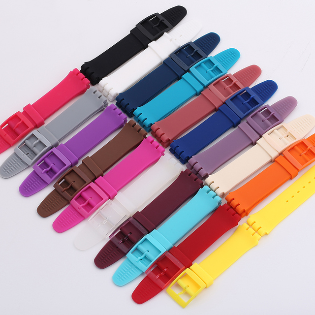 17mm 19mm Silicone Watchband for Swatch Watches Replacement Rubber Watch Strap W