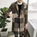 Plus size M-5XL 2016 homens novos do inverno Homens casaco longo seção de jaqueta corta-vento ocasional longa seção de homens de negócios roupas