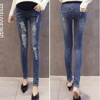 Ripped Maternity Jeans Pants for Pregnant Women Clothes Nursing Trousers Pregnancy Overalls Denim Long Prop Belly Legging New 2018 summer ripped hole pockets maternity overalls loose adjustable bib pants clothes for pregnant women pregnancy jeans jumpsui