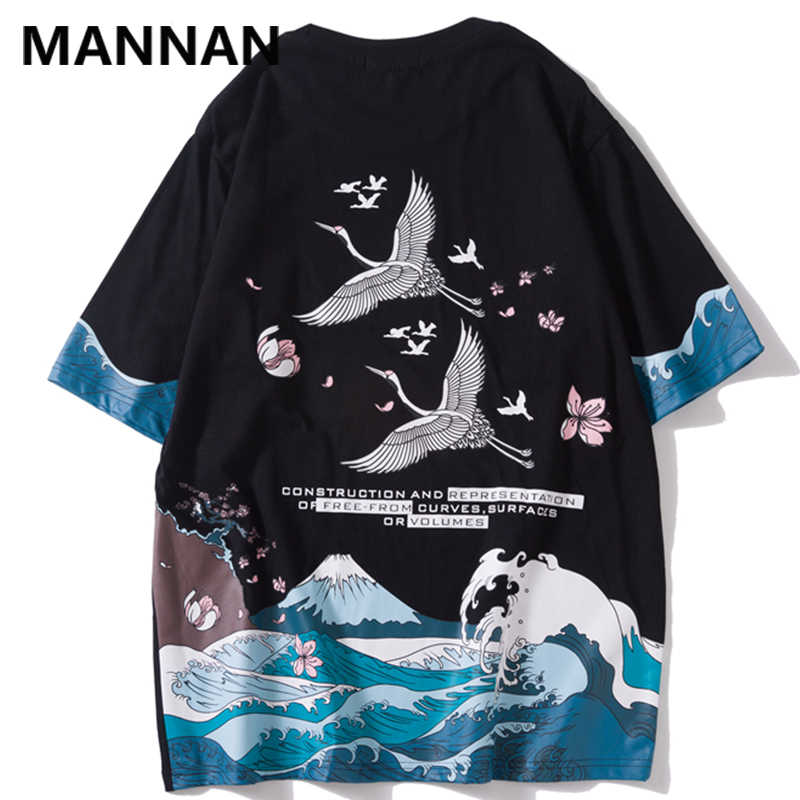MANNAN Harajuku Japanese Crane Wave Cherry Blossoms Print Tshirts Hip Hop 2019 Summer Casual Short Sleeve T Shirts Male Tees