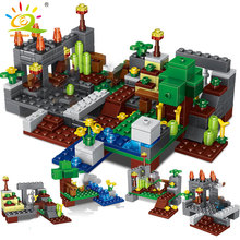 4 in 1 Town group Minecrafted City Building Blocks with dragon Steve figures model Bricks set Educational toys for children