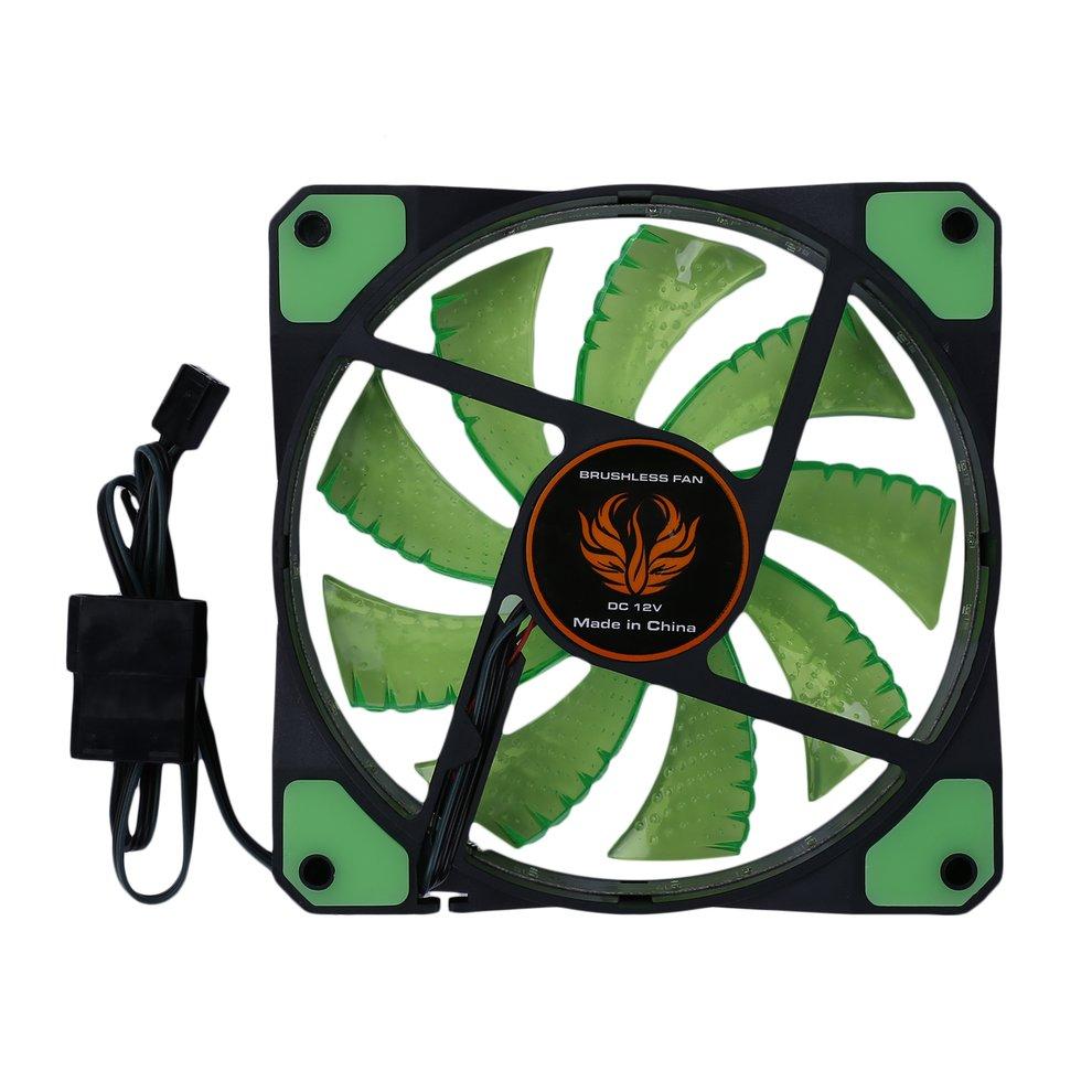 z pcs Green Light 120mm LED Ultra Silent Computer PC Case Fan 15 LEDs 12V Easy Installed 100 pcs ld 3361ag 3 digit 0 36 green 7 segment led display common cathode