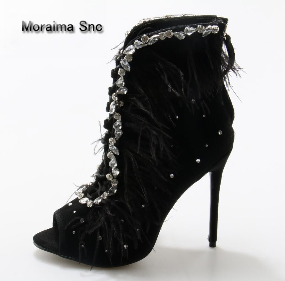Moraima Snc Summer Feather Cover Bling Rhinestones Decor Ankle Boots Women Lace Up Peep toe Stiletto Heels Crystal Sandals boots gorgeous silvery women bling bling crystal stiletto heel ankle boots glittering peep toe booties lace up dress sandals hot sell