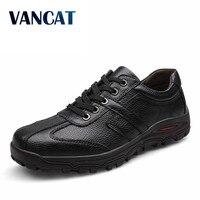 VANCAT Brand Size 38 48 Fashion Handmade Brand Genuine Leather Men Flats Soft Leather Men Male