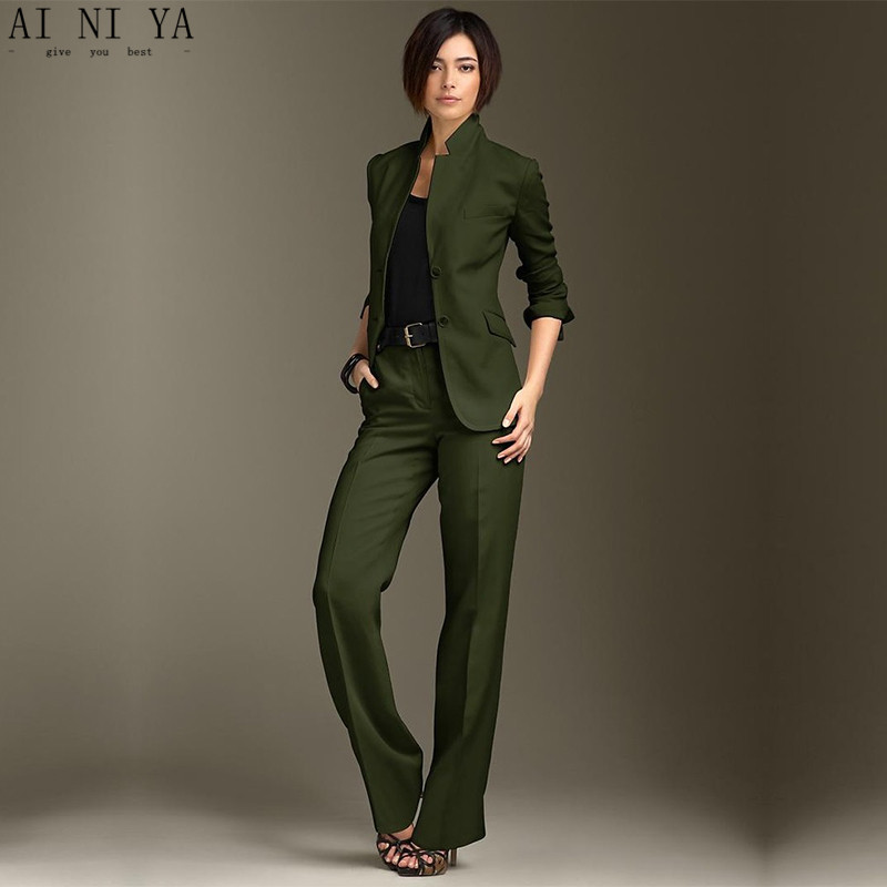Jacket Pants Dark Green Women Business Suits Chinese Collar Formal Ladies Pant Suits Office ...