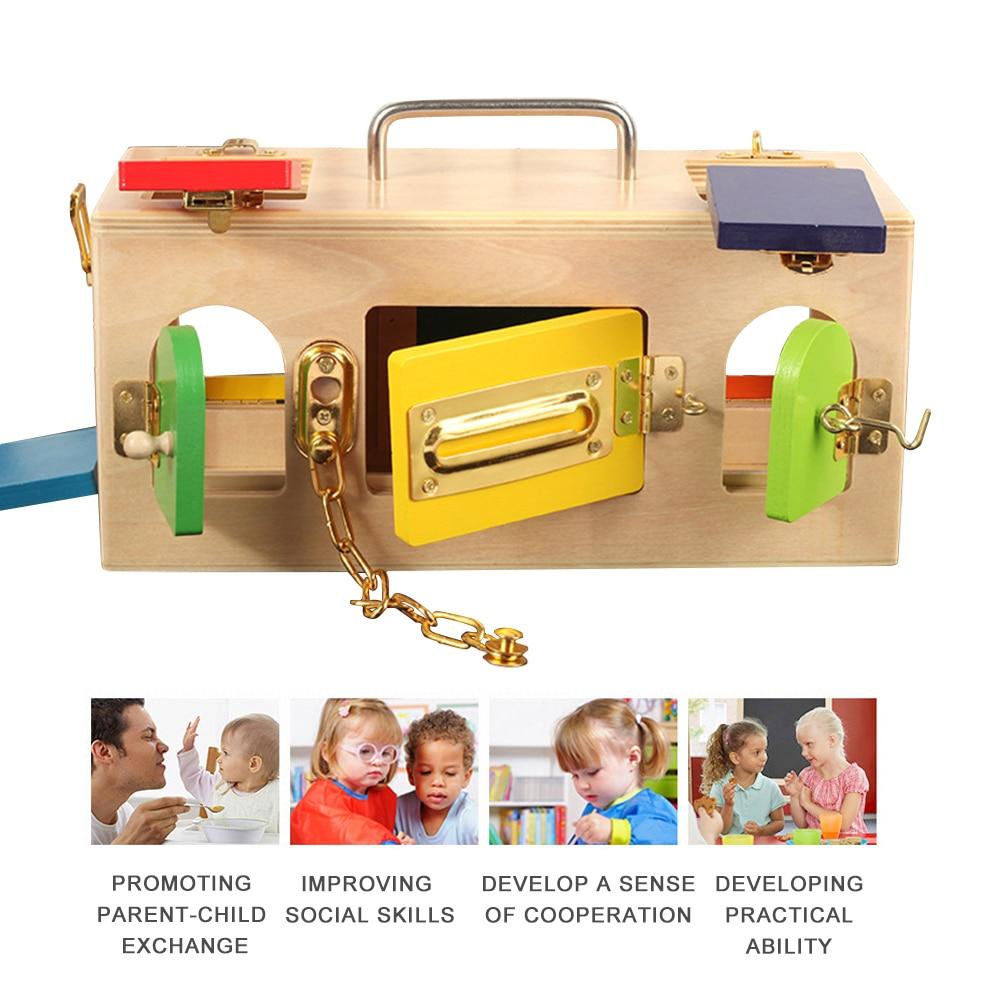 Enfants Montessori jouets petite boîte de verrouillage jouet Montessori éducatifs en bois jouets pour enfants sensoriels éducatifs en bois jeux - 3