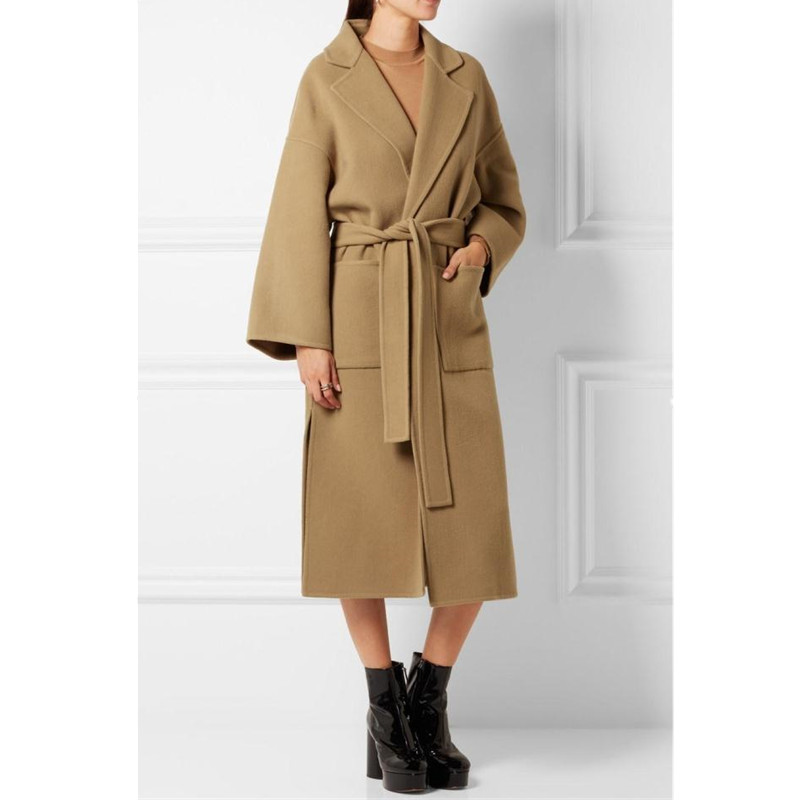 Brands Camel Acrylic Woolen Coats 2019 Winter New Design Side Split Turn-down Collar Big Pockets Thick Women Outerwear With Belt