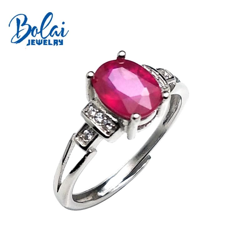Bolai, petit rubis naturel en argent sterling 925 anneaux de sonnerie confortables pour les femmes anniversaire de mariage ou vêtement quotidien meilleur cadeau.