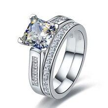 TRS102 Роскошные Качество 2 карат Принцесса Cut best качество NSCD синтетический камень Обручение набор колец для Для женщин, свадебный комплект, Свадебный комплект