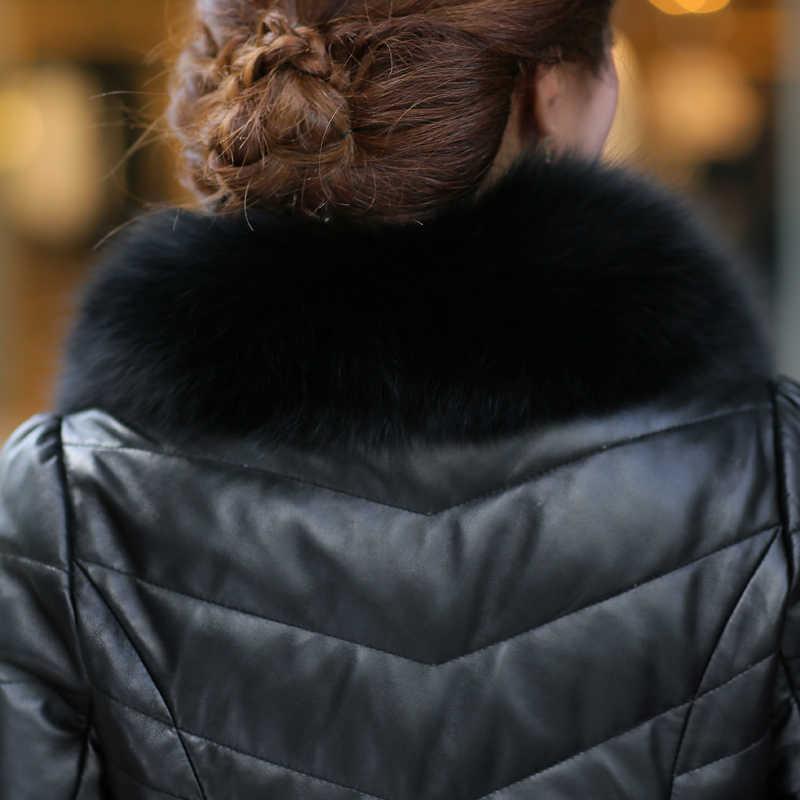 Phụ Nữ New Bất Áo Khoác Da Màu Đen Fox Cổ Áo Lông Thú Màu Trắng Vịt Xuống Mùa Đông Áo Khoác Nữ Da Chính Hãng Áo Khoác Da Cừu OK1162