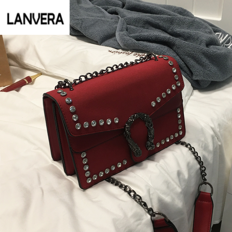 Luxury Brand Rivet Chain Casual Shoulder Bags Women Famous Designer Lock Messenger Bag Retro Women Leather Bag gg bag Sac A Main luxury handbags women bags designer handbags high quality pu leather bag famous brand retro shoulder bag rivet sac a main