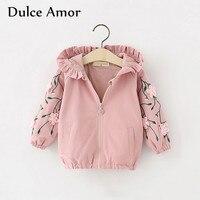 Dulce Amor Baby Girl Jacket Coat Autumn Long Sleeve Appliques Hooded Windbreak Outerwear New Brand Kids