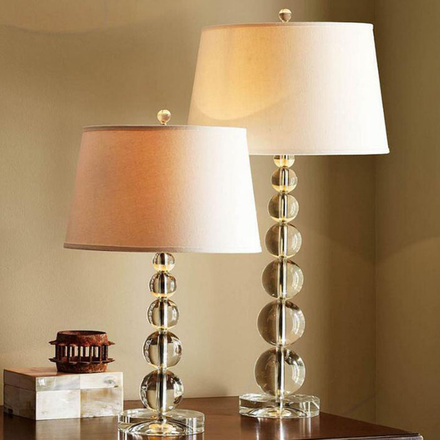 Simple and luxurious crystal table lamp bedside bedroom art living ...