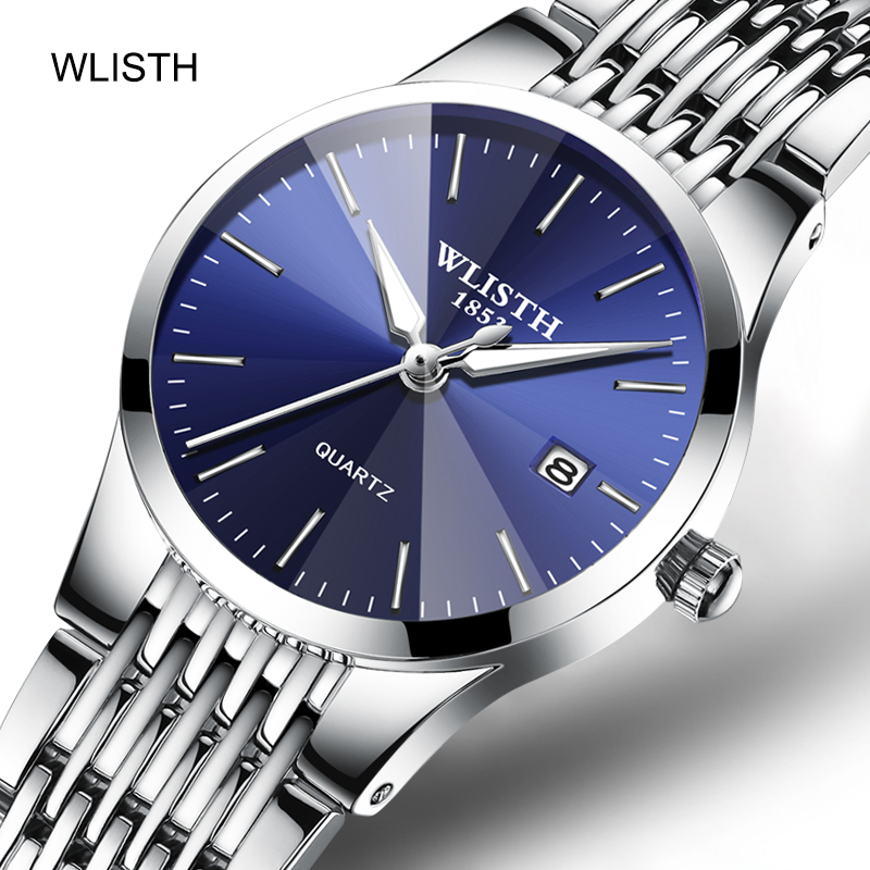 WLISTH Couple Watches Business Stainless-Steel Luminous Men Women Ultra-Thin Lovers Casual