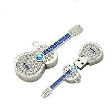 Diamond Crystal guitar 8GB 16GB 32GB 64GB Jewelry Metal USB Flash Memory Drive U Disk Necklace usb flash drive