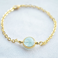 5A Aquamarine 18K Gold Plated Charm Bracelets For Women Love Bohemian Bangles One Direction Fashion Fine
