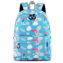 Women Sky Blue Backpack Animal Flamingo Printing Cute Bookpack School Back Bags for Teenage Girls Trip Laptop Backpack