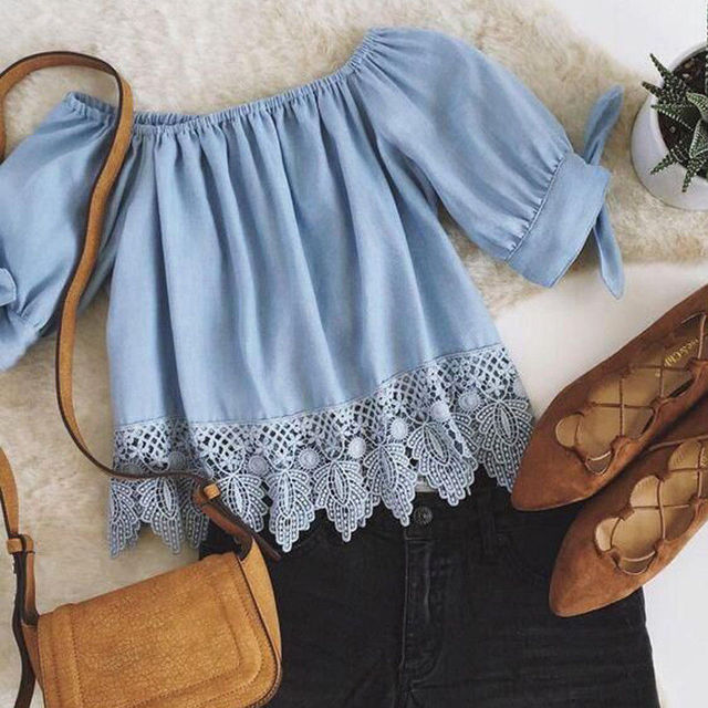 db49297dfc6baf New Fashion Women Lace Sexy Off Shoulder Short Sleeve Shirt Casual Blouse  Crop Tops Casual Women Slash Neck Short Tops -in Blouses & Shirts from  Women's ...